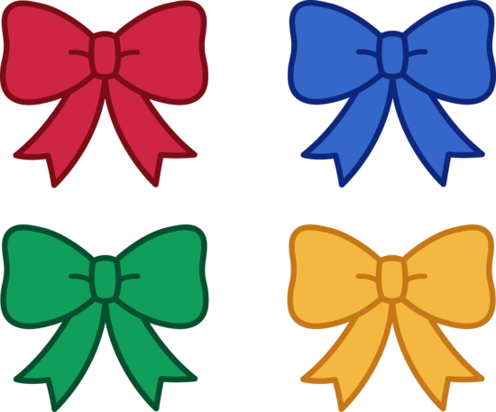Red Blue Green and Yellow Bows