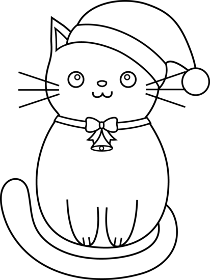 Kitten Christmas Cat Coloring Pages.Christmas Cat Line Art Free Clip Art