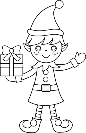 Christmas Elf Coloring Page - Free Clip Art