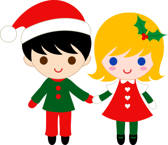 Christmas Kids Holding Hands
