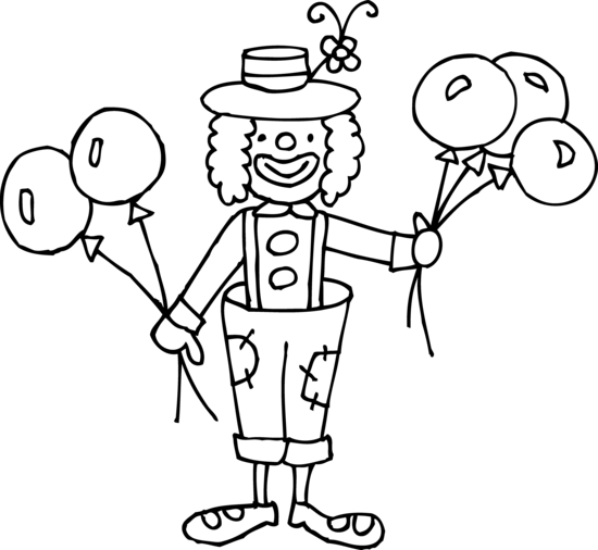 Funny Clown Coloring Page