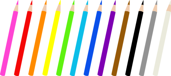 Set of Twelve Colored Pencils - Free Clip Art