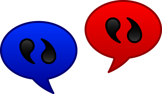Blue and Red Communication Icons