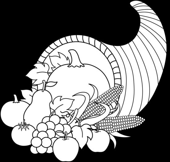 Harvest Cornucopia Line Art - Free Clip Art