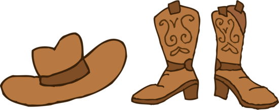 Cowboy Hat and Boots Clip Art