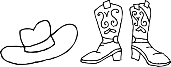Colorable Cowboy Hat and Boots
