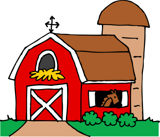Red Barn and Silo Clip Art