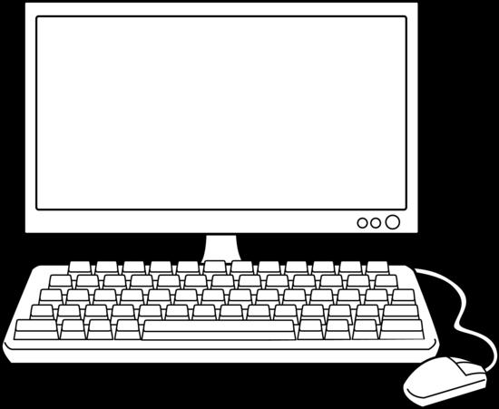 Desktop Computer Line Art