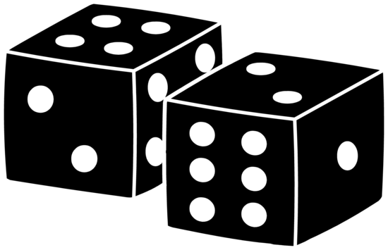Black Playing Dice Design