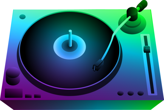 Dj Turntable Under Neon Lights Free Clip Art