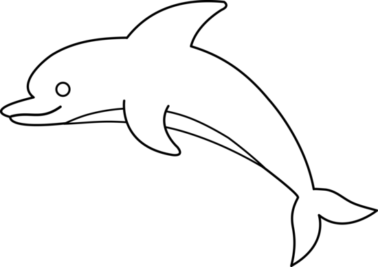 Line Art Dolphin : Cute colorable dolphin free clip art