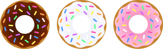 Three Donuts With Sprinkles