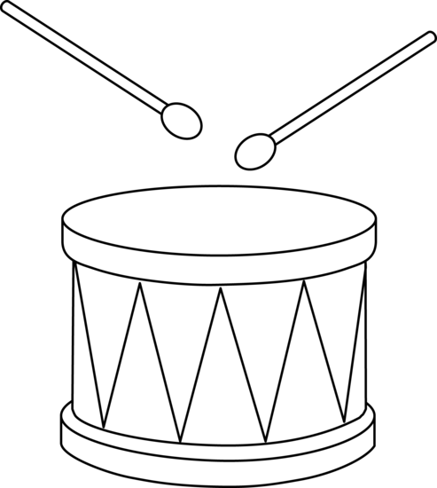 Colorable Marching Drum - Free Clip Art