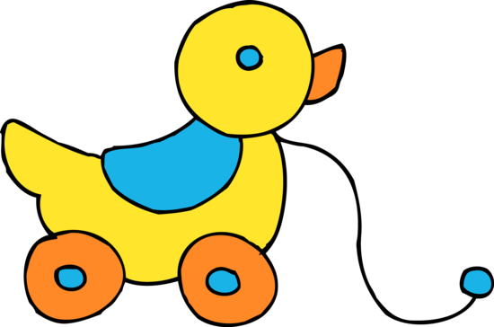 Yellow Wheeled Rolling Duck Toy