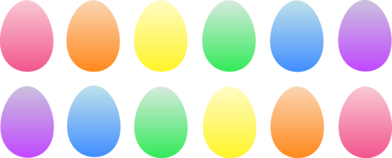 a dozen colored easter eggs