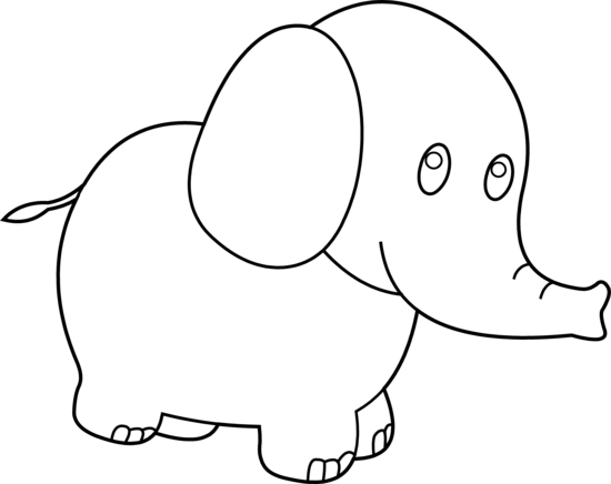 Cute Elephant Coloring Page - Free Clip Art