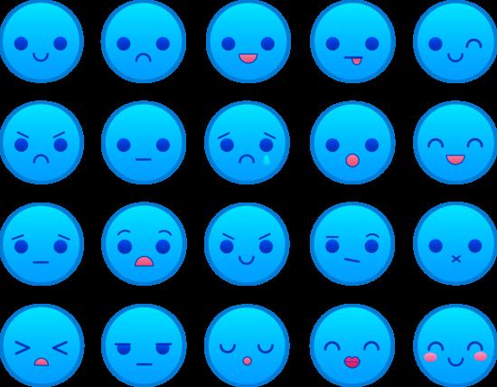 Cute Blue Emoticons