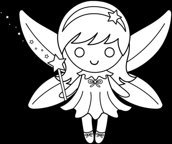 Cute Colorable Fairy Design - Free Clip Art