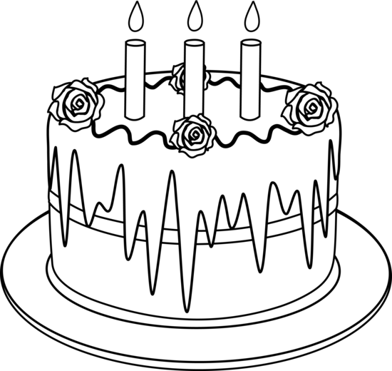 Colorable Line Art of Birthday Cake - Free Clip Art