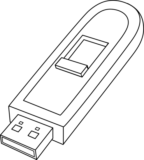 USB Memory Stick Line Art