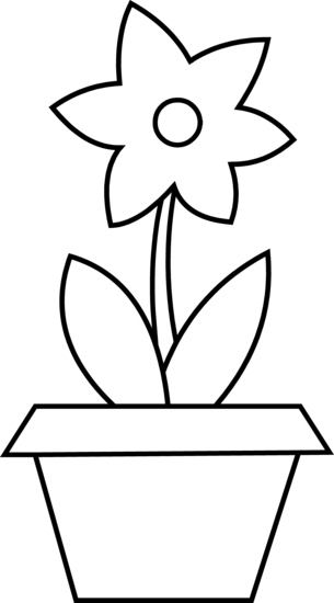 Flower Pot Coloring Page Free Clip Art
