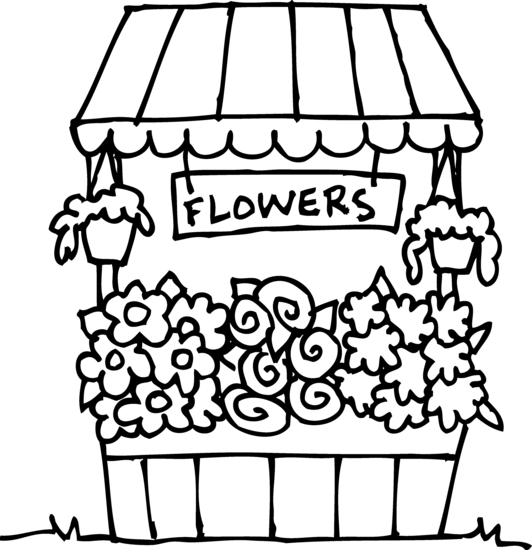 Cute Flower Stand Coloring Page