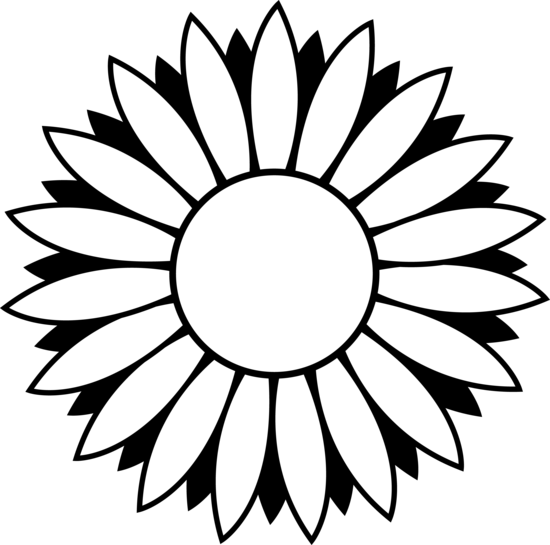 Black and White Sunflower Design