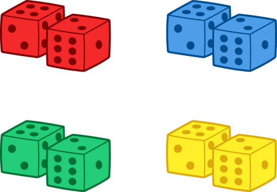 Set of Colorful Playing Dice