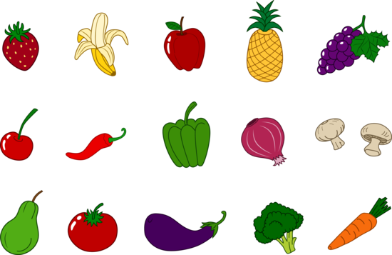 Fruits and Veggies Clipart Set