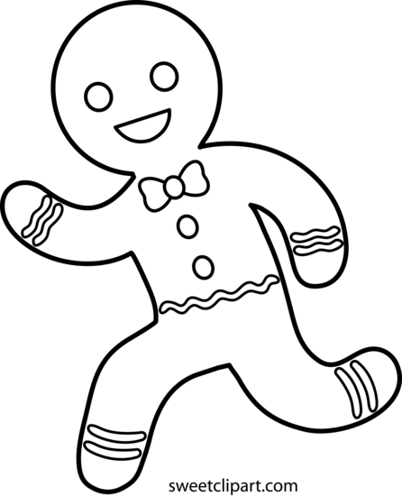 Running Gingerbread Man Line Art Free Clip Art