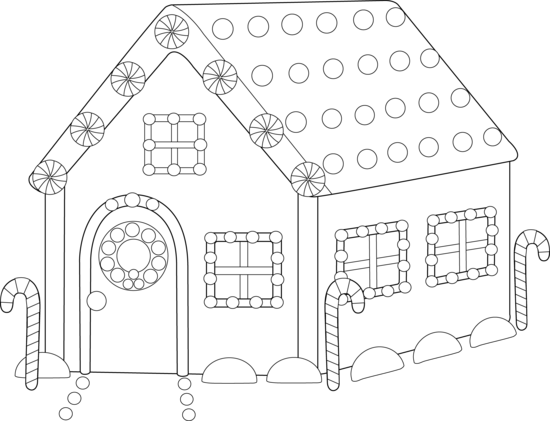 Gingerbread House Coloring Page - Free Clip Art