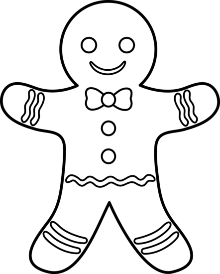 Colorable Gingerbread Man