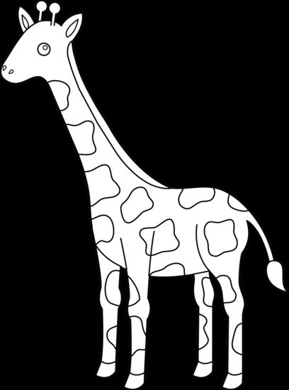 Colorable Giraffe Design - Free Clip Art