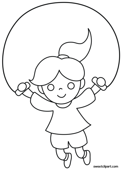 Girl Jumping Rope Coloring Page