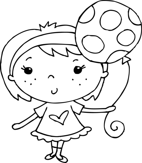 Coloring Page Of Girl With Balloon Free Clip Art