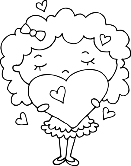 Coloring Page of Girl With Hearts