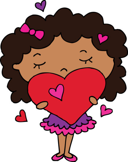 Cute Clipart of Girl Holding a Heart