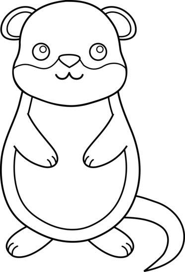Cute Colorable Groundhog - Free Clip Art