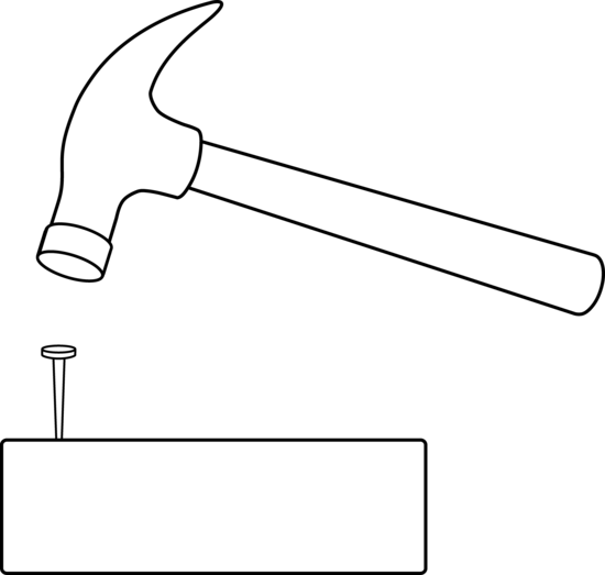 Hammer and Nail Outline - Free Clip Art
