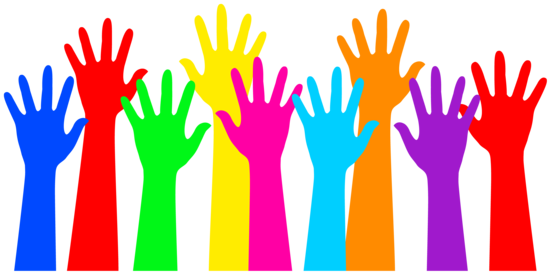 rainbow colored raised hands free clip art rh sweetclipart com raise your hand clipart free raise hand clipart black and white