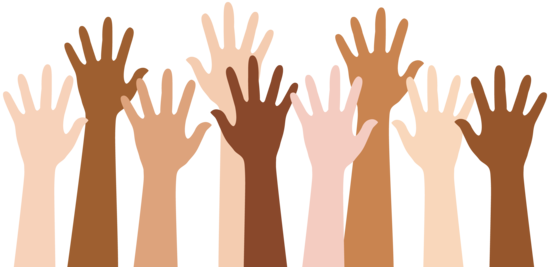 Diverse People Raising Hands