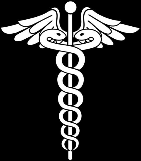Black and White Caduceus Logo