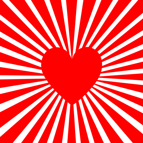 Red Heart With Vibrant Line Burst