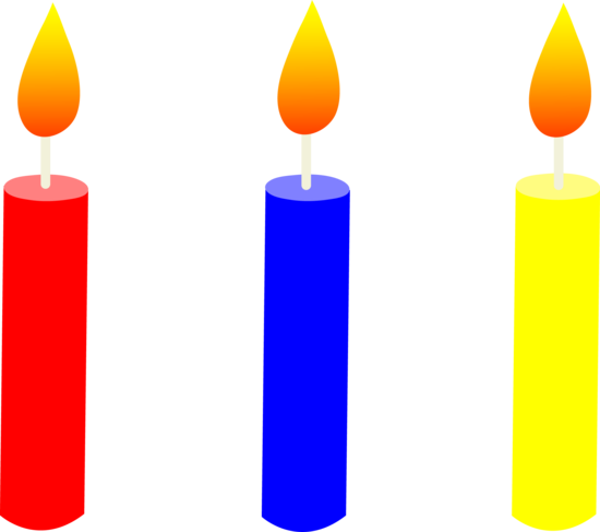 Three Lit Birthday Cake Candles - Free Clip Art