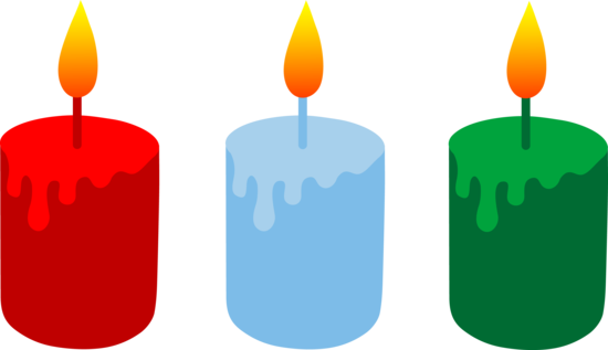 Set of Three Lit Holiday Candles