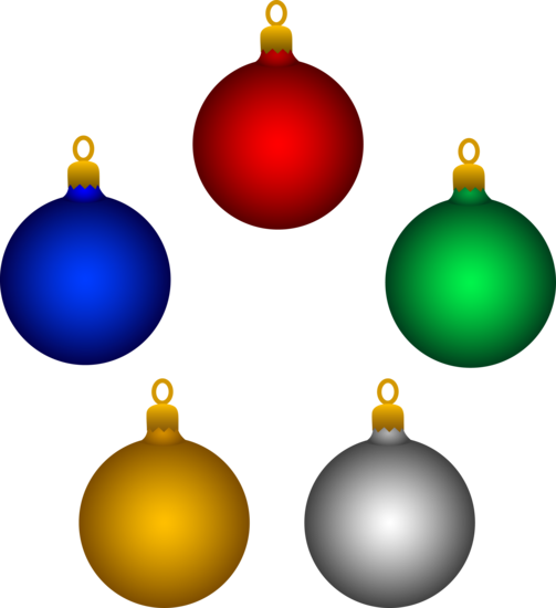 Set of Five Colorful Holiday Ornaments