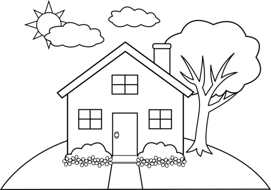 Cute Colorable House on a Hill