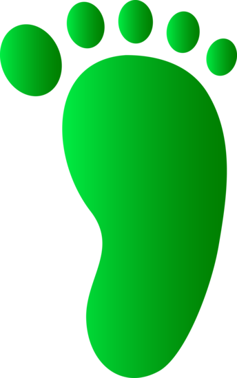 Green Right Foot Print