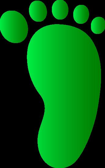 Green Right Foot Print