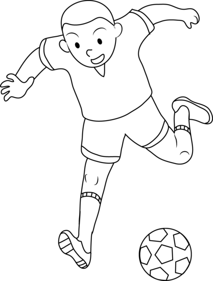 Coloring Page of Boy Playing Soccer